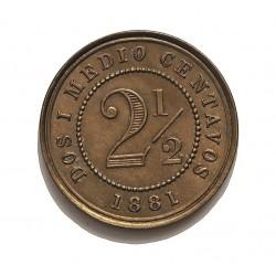 Colombia 2,5  Ctvo.  1881. Heaton. CUNI. 2,5gr. Ø18mm. EBC+/SC-. KM. 180