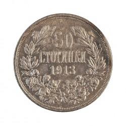 Bulgaria 50 Stotinki. 1913. AG. 2,45gr. Ley:0,835. Ø18mm. EBC+/SC-. KM. 30