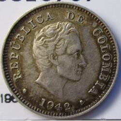 Colombia 10  Ctvo.  1942. Bogota. AG. 2,5gr. Ley:0,900. Ø18mm. EBC/EBC+. KM. 196.1