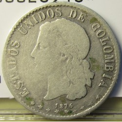 Colombia 20  Ctvo.  1876. AG. 5gr. Ley:0,835. Ø23mm. BC+/MBC-. KM. 178.2