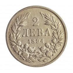 Bulgaria 2 Leva. 1894. AG. 10gr. Ley:0,835. Ø27mm. MBC-/MBC. KM. 17