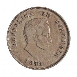 Colombia 20  Ctvo.  1938. AG. 5gr. Ley:0,900. Ø23mm. MBC. KM. 197