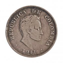 Colombia 20  Ctvo.  1941. AG. 5gr. Ley:0,900. Ø23mm. MBC-. KM. 197