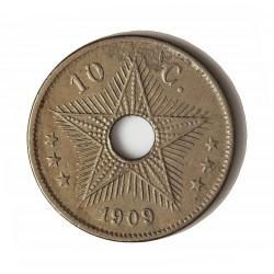 Congo Belga-(1909/1960) 10 Cts. 1909. CUNI. 3,9gr. Ø22mm. MBC. MUY ESCASO/A. KM. 13