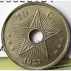 Congo Belga-(1909/1960) 10 Cts. 1927. CUNI. 3,9gr. Ø22mm. SC-/SC. (Pqño.gpcto.cto.). KM. 13
