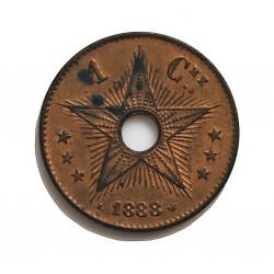 Congo-(Est. Libre-1865/1908) 1 Cts. 1888. CU. 2gr. Ø18mm. SC-/SC. (Casi todo su tono original.Manchita rev.). MUY ESCASO/A. en