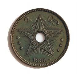 Congo-(Est. Libre-1865/1908) 2 Cts. 1888. CU. 4gr. Ø23mm. SC/SC-. (Patina). ESCASO/A. asi. KM. 2