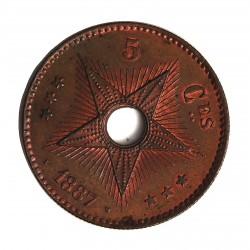 Congo-(Est. Libre-1865/1908) 5 Cts. 1887. CU. 10gr. Ø30mm. SC/SC-. (Parte de su tono original.Lev.patina). RARO/A. en esta con
