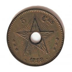 Congo-(Est. Libre-1865/1908) 5 Cts. 1888. CU. 10gr. Ø30mm. SC-. (Patina oscura). ESCASO/A. asi. KM. 3
