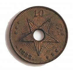 Congo-(Est. Libre-1865/1908) 10 Cts. 1888. CU. 20gr. Ø35mm. SC/SC-. (Lev.suciedad. Patina). ESCASO/A. en esta conservacion. KM