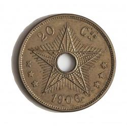 Congo-(Est. Libre-1865/1908) 20 Cts. 1906. CUNI. 6gr. Ø25mm. EBC+/SC-. (Lev.patina). ESCASO/A. asi. KM. 10