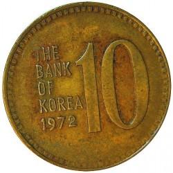 Corea del Sur 10 Won. 1972. BRASS. 4,06gr. (Pagoda/Templo). Ø22,9mm. EBC/EBC+. KM. 6 a