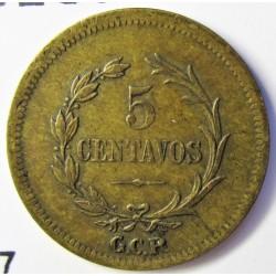 Costa Rica 5 Ctvo. 1919. Filadelfia. BRASS. 1gr. Ø15mm. MBC/MBC+. KM. 147