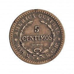 Costa Rica 5 Cts. 1905. P-(Filadelf.). GCR. AG. 1gr. Ley:0,900. Ø15mm. MBC/MBC-. KM. 145
