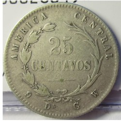 Costa Rica 25 Cts. 1887. GW. AG. 6,25gr. Ley:0,750. Ø25mm. MBC+/EBC-. KM. 127.2