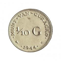 Curaçao 0,1 Gulden. 1944. D-(Denver). AG. 1,4gr. Ley:0,640. (1/10 G.)-(Guillermina). Ø15mm. EBC+/SC-. KM. 43