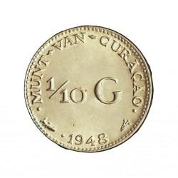 Curaçao 0,1 Gulden. 1948. AG. 1,4gr. Ley:0,640. (1/10 G.)-(Guillermina). Ø15mm. SC. (Tono original). KM. 48