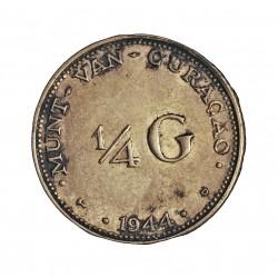 Curaçao ¼ Gulden. 1944. D-(Denver). AG. 3,58gr. Ley:0,640. (Guillermina). Ø18mm. EBC+/SC-. KM. 44