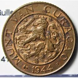 Curaçao 1 Cent. 1944. D-(Denver). CU. 2,5gr. (Guillermina). Ø18,5mm. EBC+. KM. 41