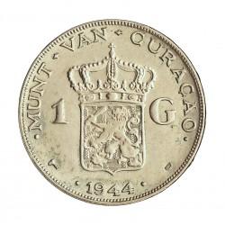 Curaçao 1 Gulden. 1944. D-(Denver). AG. 10gr. Ley:0,720. (Guillermina). Ø27mm. SC-/SC. KM. 45
