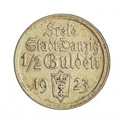 Danzig ½ Gulden. 1923. AG. 2,5gr. Ley:0,750. Ø19,5mm. EBC-/EBC. KM. 144