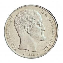 Dinamarca 2 Risgsdaler. 1856. (Copenhage). FK/VS. AG. 28,893gr. Ley:0,875. Ø37mm. MBC+. MUY ESCASO/A. KM. 761.2