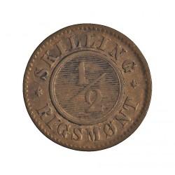 Dinamarca ½ Skilling Rigsmont. 1857. (o)-Altona). AE. 28,89gr. Ley:0,000. Ø15,5mm. EBC. ESCASO/A. asi. KM. 767
