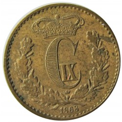 Dinamarca ½ Skilling Rigsmont. 1868. (Copenhage). AE. 2gr. Ley:0,000. Ø15,5mm. EBC+/SC-. ESCASO/A. en esta conservacion. KM. 77