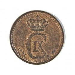 Dinamarca 1 Ore. 1891. (Copenhage). CS. AE. 2gr. Ley:0,000. Ø16mm. SC-. (Parte de su tono original.Insig,manchita). MUY ESCASO/