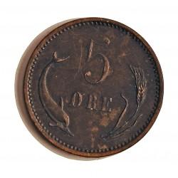 Dinamarca 5 Ore. 1874. (Copenhage). CS. AE. 8gr. Ley:0,000. Ø27mm. MBC-/MBC. (Rayitas campo). ESCASO/A. KM. 794.1