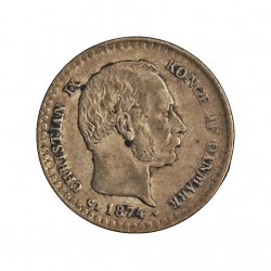 Dinamarca 10 Ore. 1874. (Copenhage). CS. AG. 1,45gr. Ley:0,400. Ø15mm. EBC/EBC+. MUY ESCASO/A. KM. 795.1