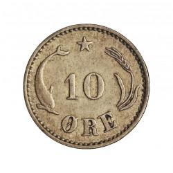 Dinamarca 10 Ore. 1899. (Copenhage). VHP. AG. 1,45gr. Ley:0,400. Ø15mm. MBC+/EBC-. KM. 795.2