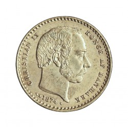 Dinamarca 25 Ore. 1874. (Copenhage). CS. AG. 2,42gr. Ley:0,600. Ø17mm. SC-/SC. (Tono original). RARO/A. así. KM. 796.1