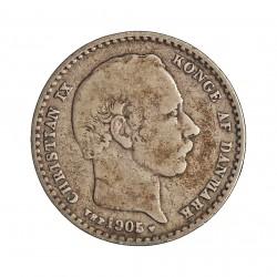 Dinamarca 25 Ore. 1905. (Copenhage). VBP. AG. 2,42gr. Ley:0,600. Ø17mm. BC+/MBC-. KM. 796.2