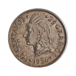 Dominicana.-Rep. 10 Ctvo. 1956. AG. 2,5gr. Ley:0,900. (Indio nativo). Ø18mm. EBC. KM. 19