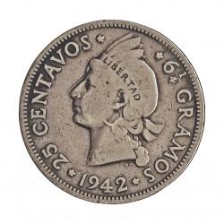 Dominicana.-Rep. 25 Ctvo. 1942. AG. 6,25gr. Ley:0,900. Ø24mm. MBC-. KM. 20