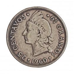 Dominicana.-Rep. 25 Ctvo. 1960. AG. 6,25gr. Ley:0,900. Ø24mm. MBC. KM. 20