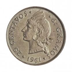 Dominicana.-Rep. 25 Ctvo. 1961. AG. 6,25gr. Ley:0,900. Ø24mm. SC. (Su tono). KM. 20