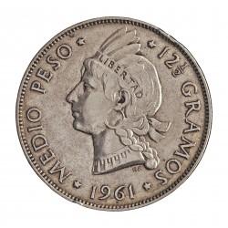 Dominicana.-Rep. ½ Pesos. 1961. AG. 12,5gr. Ley:0,900. Ø30mm. MBC+. KM. 21
