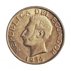 Ecuador 1 Sucre. 1934. Filadelfia. U.S.A. AG. 5gr. Ley:0,720. Ø23mm. SC-/SC. KM. 72