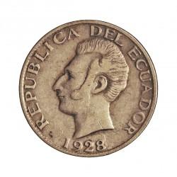 Ecuador 50 Ctvo. 1928. Filadelfia. U.S.A. AG. 2,5gr. Ley:0,720. Ø18mm. MBC. KM. 71