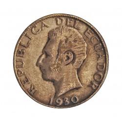 Ecuador 50 Ctvo. 1930. Filadelfia. U.S.A. AG. 2,5gr. Ley:0,720. Ø18mm. MBC-/MBC. KM. 71