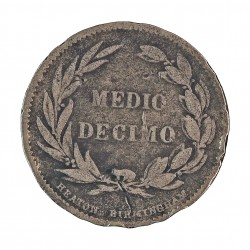 Ecuador ½ Decimo. 1886. Heaton-Birmingham. CUNI. 5gr. Ø25mm. MBC-. KM. 49