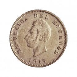 Ecuador ½ Decimo. 1915. H-(Birmingham). M. AG. 1,25gr. Ley:0,900. Ø15mm. MBC/MBC+. (Rayitas anv,). KM. 55.2