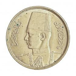 Egipto 5 Piastras. 1939. (AH1356). AG. 7gr. Ley:0,833. Ø26mm. EBC+/SC-. KM. 366