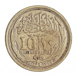 Egipto 10 Piastras. 1916. (AH1335). AG. 14gr. Ley:0,833. Ø33mm. MBC+. KM. 319