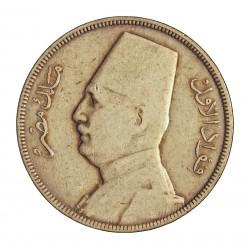 Egipto 10 Piastras. 1933. (AH.1352). AG. 14gr. Ley:0,833. Ø33mm. MBC-. KM. 350