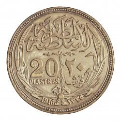 Egipto 20 Piastras. 1916. (AH.1335). AG. 28gr. Ley:0,833. Ø40mm. MBC+. KM. 321