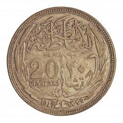 Egipto 20 Piastras. 1917. (AH.1335). AG. 28gr. Ley:0,833. Ø40mm. MBC+. KM. 321
