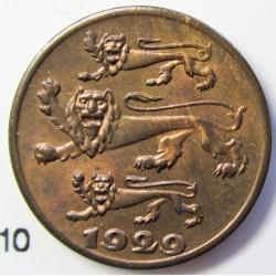 Estonia 1 Sent. 1929. AE. 1,9gr. Ø16mm. SC. (Tono original). ESCASO/A. en esta conservacion. KM. 10